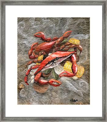 Crab Boil Framed Print by Elaine Hodges