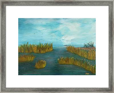 Crab Lady Landing In Big Lake Framed Print