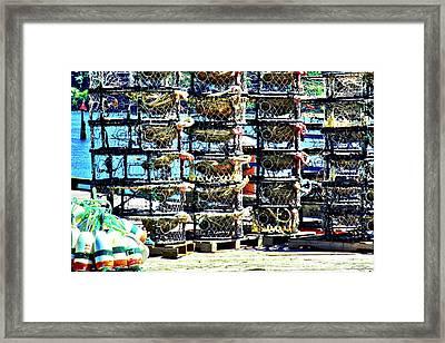 Crab Nets Framed Print