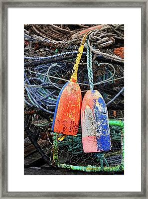 Crab Pots And Buoys Framed Print