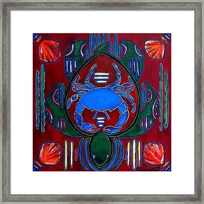 Crab Turtle Mola Framed Print by Patti Schermerhorn