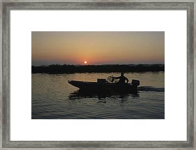 Crabbing Off Delacroix Island Framed Print by Medford Taylor