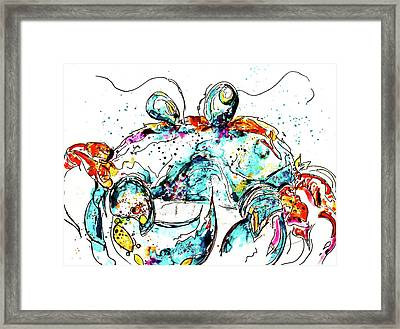 Crabbitude In Blue Framed Print by Reba Mcconnell