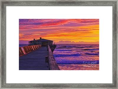 Crabby Joe's Sunday Sunrise Framed Print by Deborah Benoit