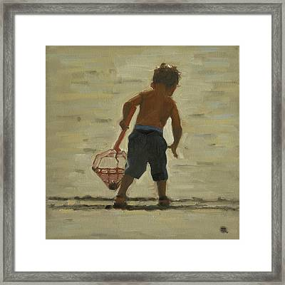 Framed Print featuring the painting Crabin At The Beach by John Reynolds