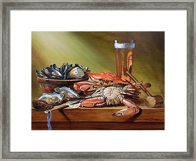 Crabs And Beer Framed Print by Scott Broadfoot