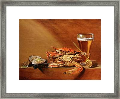 Crabs, Oysters And Beer Framed Print by Scott Broadfoot