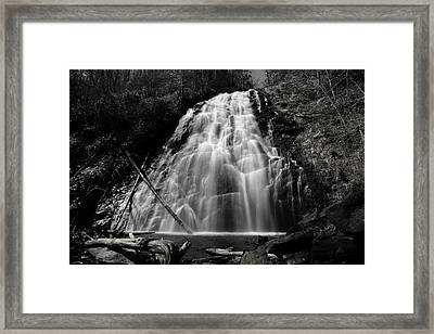 Crabtree Falls In Black And White Framed Print