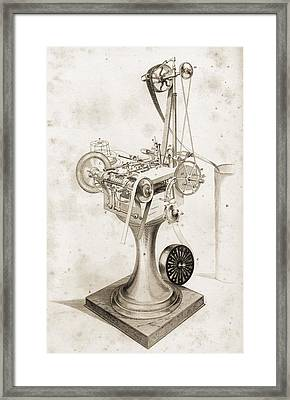 Crabtree S Card Setting Machine. Copied Framed Print by Vintage Design Pics