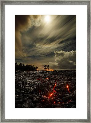 Crack In The Flow On Moon Lit Drive  Framed Print
