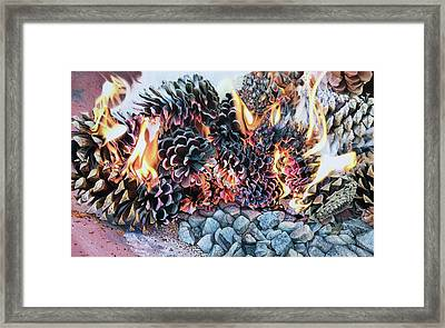 Crack Lin Cones On Quartz  Framed Print