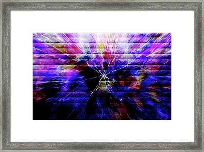 Cracked Abstract Blue Framed Print