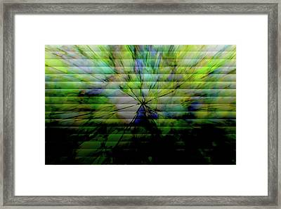 Cracked Abstract Green Framed Print