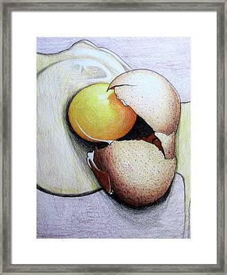 Framed Print featuring the drawing Cracked Egg by Mary Ellen Frazee