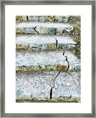 Cracked Stone Steps Framed Print