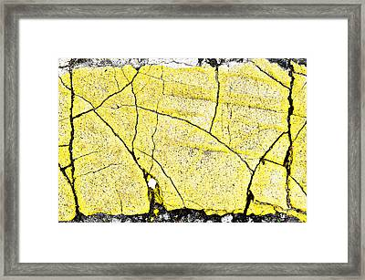 Cracked Yellow Paint Framed Print by Tom Gowanlock