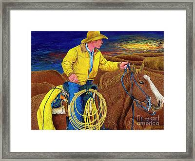 Cracker Cowboy Sunrise Framed Print