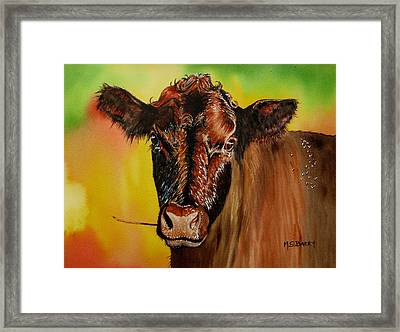 Cracker Moo Framed Print by Maria Barry