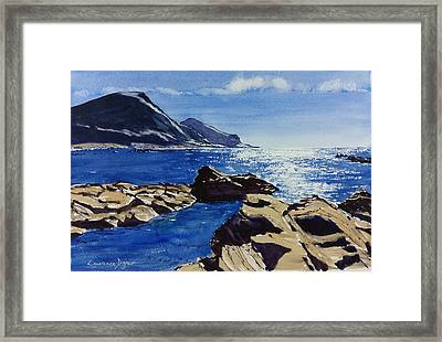 Framed Print featuring the painting Crackington Haven Sparkle by Lawrence Dyer