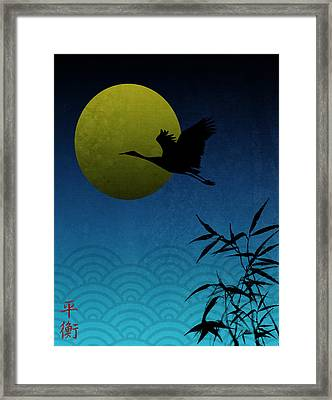 Crane And Yellow Moon Framed Print