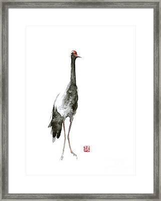 Crane Art Print Watercolor Painting Framed Print by Joanna Szmerdt