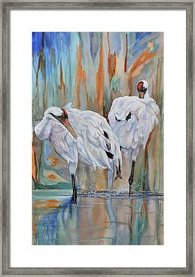 Crane Feathers Ll Framed Print by Vicky Lilla
