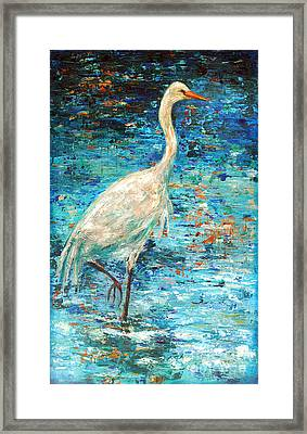 Crane Reflection Framed Print