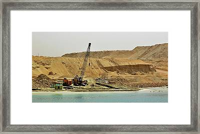 Crane With 2 Guys Framed Print