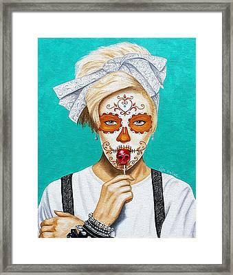 Framed Print featuring the painting Craneo Del Caramelo Dulce by Al  Molina