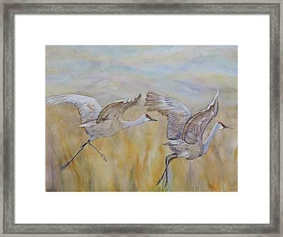 Cranes Alight Framed Print by Vicky Lilla