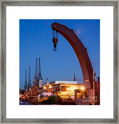 Cranes, Bristol Harbour Framed Print