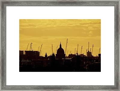 Cranes Over London Framed Print by Wayne Molyneux