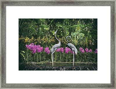Cranes Sculpture At Singapore Botanical Gardens Framed Print by Zina Zinchik