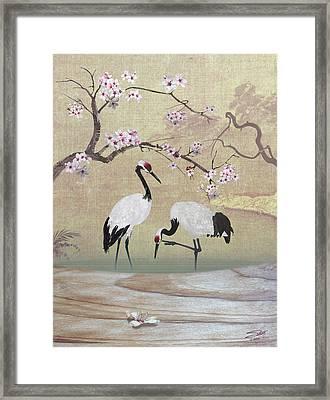 Cranes Under Cherry Tree Framed Print