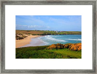 Crantock Bay And Beach North Cornwall England Uk Near Newquay With Waves In Spring Framed Print