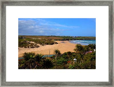 Crantock Beach North Cornwall England Uk Near Newquay With Palm Trees And Blue Sky Framed Print
