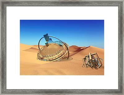 Crash Space Craft In The Desert Framed Print