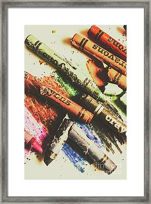 Crash Test Crayons Framed Print