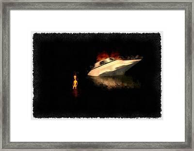 Crashed Alien Ship Framed Print by Esoterica Art Agency