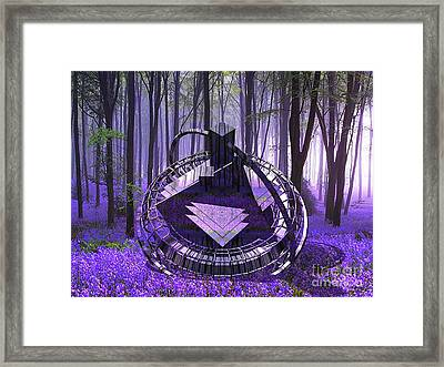 Crashed Ufo In A Valley  Of Bluebells Framed Print