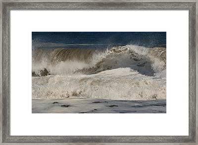 Crashing - Jersey Shore Framed Print by Angie Tirado