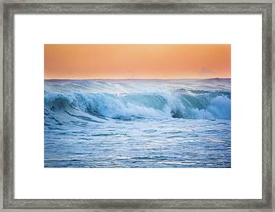 Crashing At Sunset Framed Print