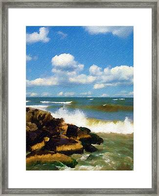 Crashing Into Shore Framed Print by Sandy MacGowan