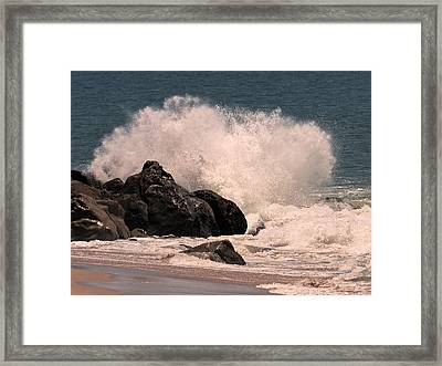 Framed Print featuring the photograph Crashing by Ron Dubin