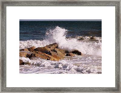 Crashing Surf On Plum Island Framed Print by Eunice Miller