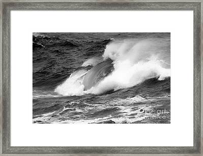 Crashing Swells Black And White Framed Print by Adam Jewell