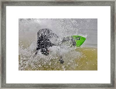 Crashing The Surf - Skimboarding At The Indian River Inlet Framed Print