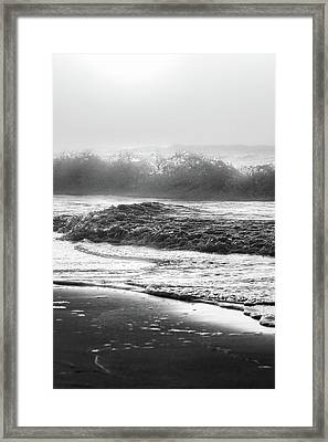 Framed Print featuring the photograph Crashing Wave At Beach Black And White  by John McGraw