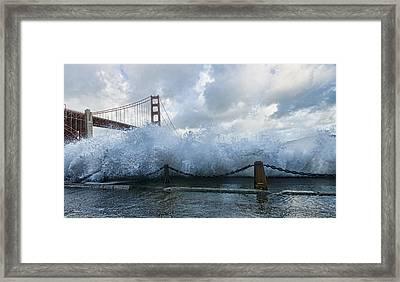 Framed Print featuring the photograph Crashing Wave Golden Gate Bridge King Tide by Steve Siri