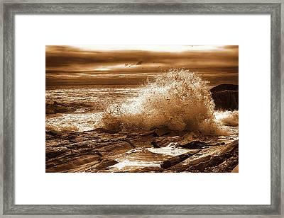 Crashing Wave Hdr Golden Glow Framed Print